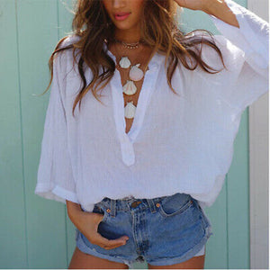 Women's V Neck Loose Solid Casual Blouse