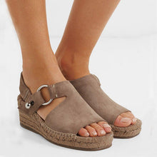 Load image into Gallery viewer, Women Arc Artificial Suede Espadrille Wedge Sandals