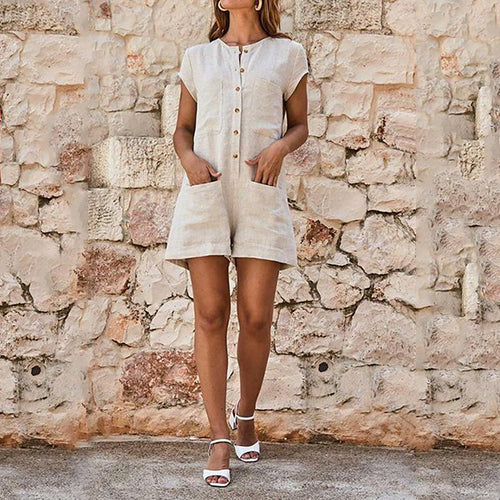 Women Button Pockets Short Sleeve Romper