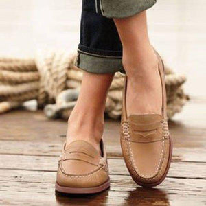 Women Vintage Slip On Loafers Low Heel PU Leather Shoes