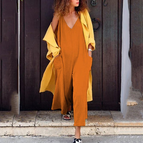 Pure Color Loose Casual V Collar Jumpsuits