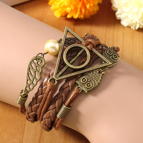 Vintage Multilayer Braided Triangle Owl Wings Cuff Bracelets