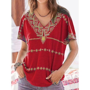 Daily Casual Printed V-Neck Blouse