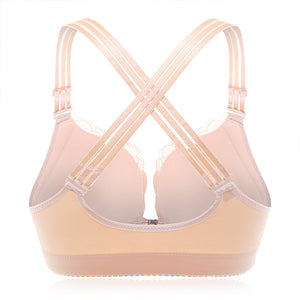 Front Closure Wireless Lace Busty Crisscross Straps Back Bras