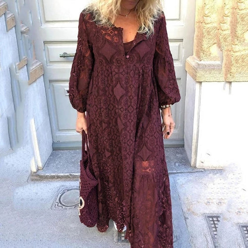 Ankle-Length Nine Points Sleeve Hollow Lantern Sleeve A-Line Dress