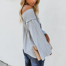 Load image into Gallery viewer, Elastic Off Shoulder Long Flare Sleeve Plain Pleated Loose Blouse