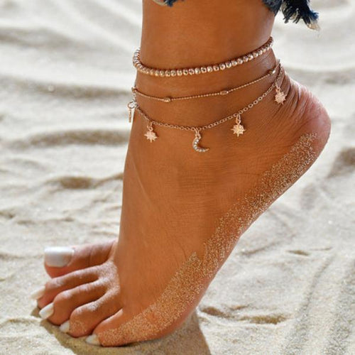 Women Accessories Star Moon Anklets