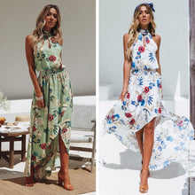 Load image into Gallery viewer, Women Holiday High Neck Floral Dress