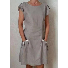 Load image into Gallery viewer, Summer Pockets Buttoned-decor Shift Linen Plus Size Dresses