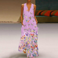 Load image into Gallery viewer, Butterfly Printed Maxi Dresses V Neck White Women Dresses Shift Daily
