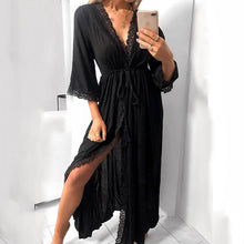 Load image into Gallery viewer, Women 3/4 Sleeve Lace Casual Maxi Dress