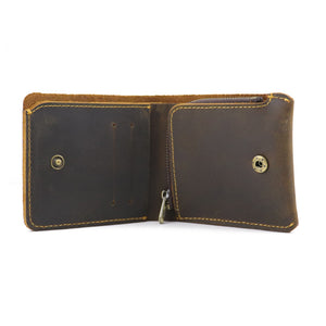 Retro Handmade Men Coin Pocket Short Zipper Travel Wallet