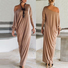 Load image into Gallery viewer, Batwing One Shoulder Casual Dress