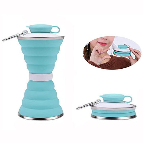 500ml Retractable Foldable Silicone Kettle Outdoor Explosion-proof Water Bottle