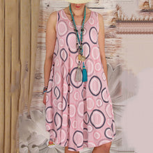 Load image into Gallery viewer, Women Circle Printed Sleeveless Casual Dress