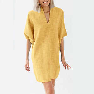 Half Sleeve V Neck Solid Color Casual Dresses