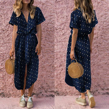 Load image into Gallery viewer, Women Sexy Wave Point V Neck Short Sleeves Vintage Dress Maxi Dress
