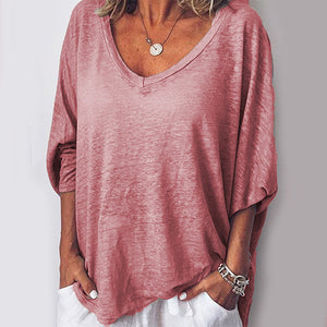 Women 3/4 Sleeves V Neck Loose-Ness T-shirt