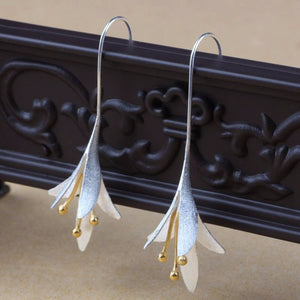 Vintage Earrings Magnolia Long Flower Dangle Earrings Ethnic Jewelry