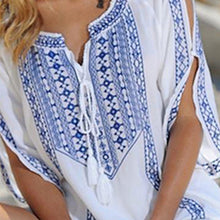 Load image into Gallery viewer, Boho Embroidered V Neck Beachwear Mini Dress