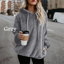 Load image into Gallery viewer, Women Winter Warm Plush  Casual Solid Color Hooded Hoodies