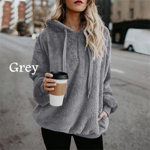 Women Winter Warm Plush  Casual Solid Color Hooded Hoodies