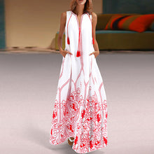 Load image into Gallery viewer, Women Sleeveless V-Neck Print Loose Beach Maxi Dress