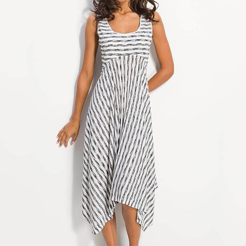 Women Midi Stripes A-Line Daily Cotton-Blend Printed Dresses