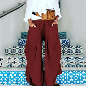 Plus Size Casual Pockets Loose Solid Pants