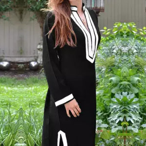 Women V Neck Long Sleeve Side Slit Party Evening Club Dress