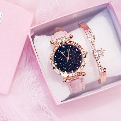 Casual Starry Sky Rhinestone Quartz Ladies Clock Watch