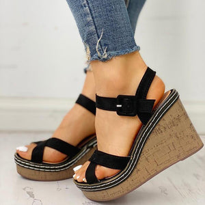 Suede Crisscross Design Wedge Sandals