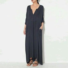 Load image into Gallery viewer, V Neck Plain Cotton Maxi Dress