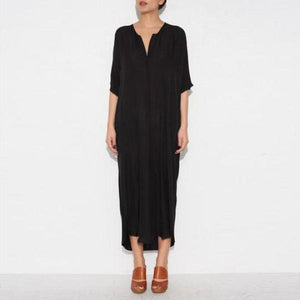 V Neck Plain Cotton Maxi Dress