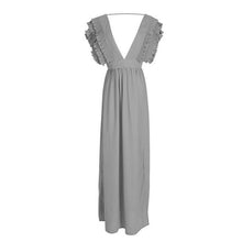 Load image into Gallery viewer, V-neck Halter Solid Color Maxi Dress