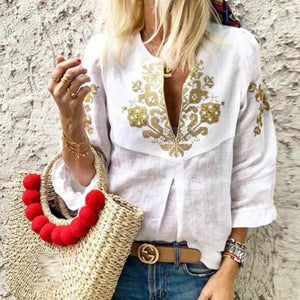Casual Cotton Tribal 3/4 Sleeve Blouses