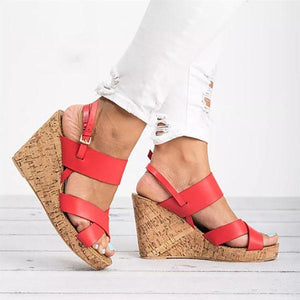 Large Size Adjustable Buckle Cross Wedge Sandals
