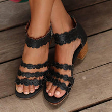 Load image into Gallery viewer, Back Zipper Thick Heel Sandals