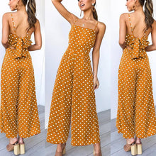Load image into Gallery viewer, Casual Backless Bowknot Wave Point Sling Wide Leg Jumpsuit