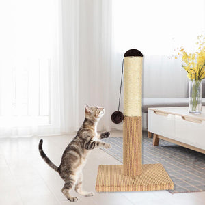 Sisal Rope Climbing Tube Cat Frame Scratching Board with A Toy Ball and Large Base