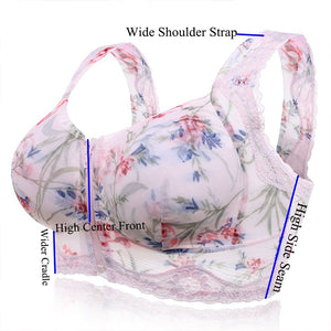 Zip Front Massage Padding Print Full Busted Lace-trim Bras