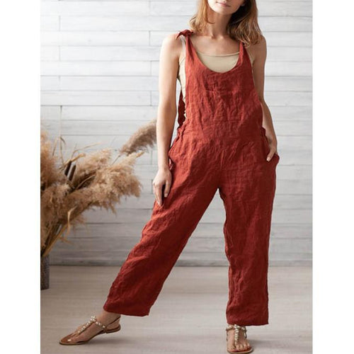 Summer New Loose Pocket Jumpsuit