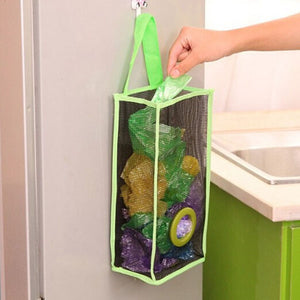 Kitchen Hanging Breathable Mesh Grid Garbage Convenient Extraction Storage Bag