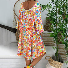 Load image into Gallery viewer, Bohemian Printed V Neck Loose Dress