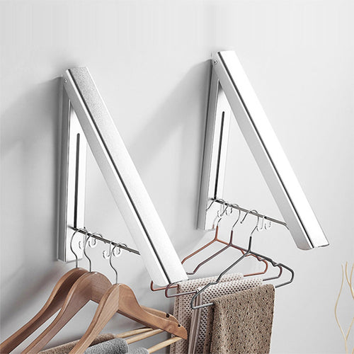 Invisible Clothes Folding Drying Rack Portable Retractable Space Towel Coat Hanger Holder