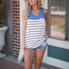 Load image into Gallery viewer, Women O Neck Sleeveless Stripe Tank Tops