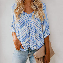 Load image into Gallery viewer, V Neck Loose Stripe Casual T-shirts