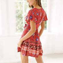Load image into Gallery viewer, Women Short Sleeve V Neck Boho Dress Tied Printed Dress