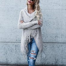 Load image into Gallery viewer, Fashion Tassels Slash Knitted Sweater Cardigan