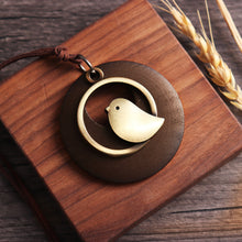 Load image into Gallery viewer, Vintage Alloy Bird Round Wood Plate Pendant Long Necklaces
